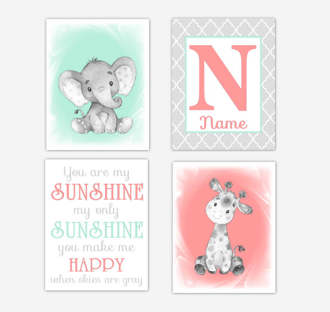 Safari Animals Coral Mint Green Baby Girl Nursery Decor Wall Art Prints Elephant Giraffe Personalized Pictures New Baby Girl SET OF 4 UNFRAMED PRINTS or CANVAS 02055