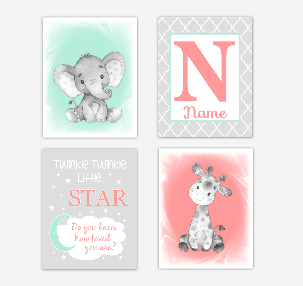 Safari Animals Coral Mint Green Baby Girl Nursery Decor Wall Art Prints Elephant Giraffe Personalized Pictures New Baby Girl SET OF 4 UNFRAMED PRINTS or CANVAS 02056