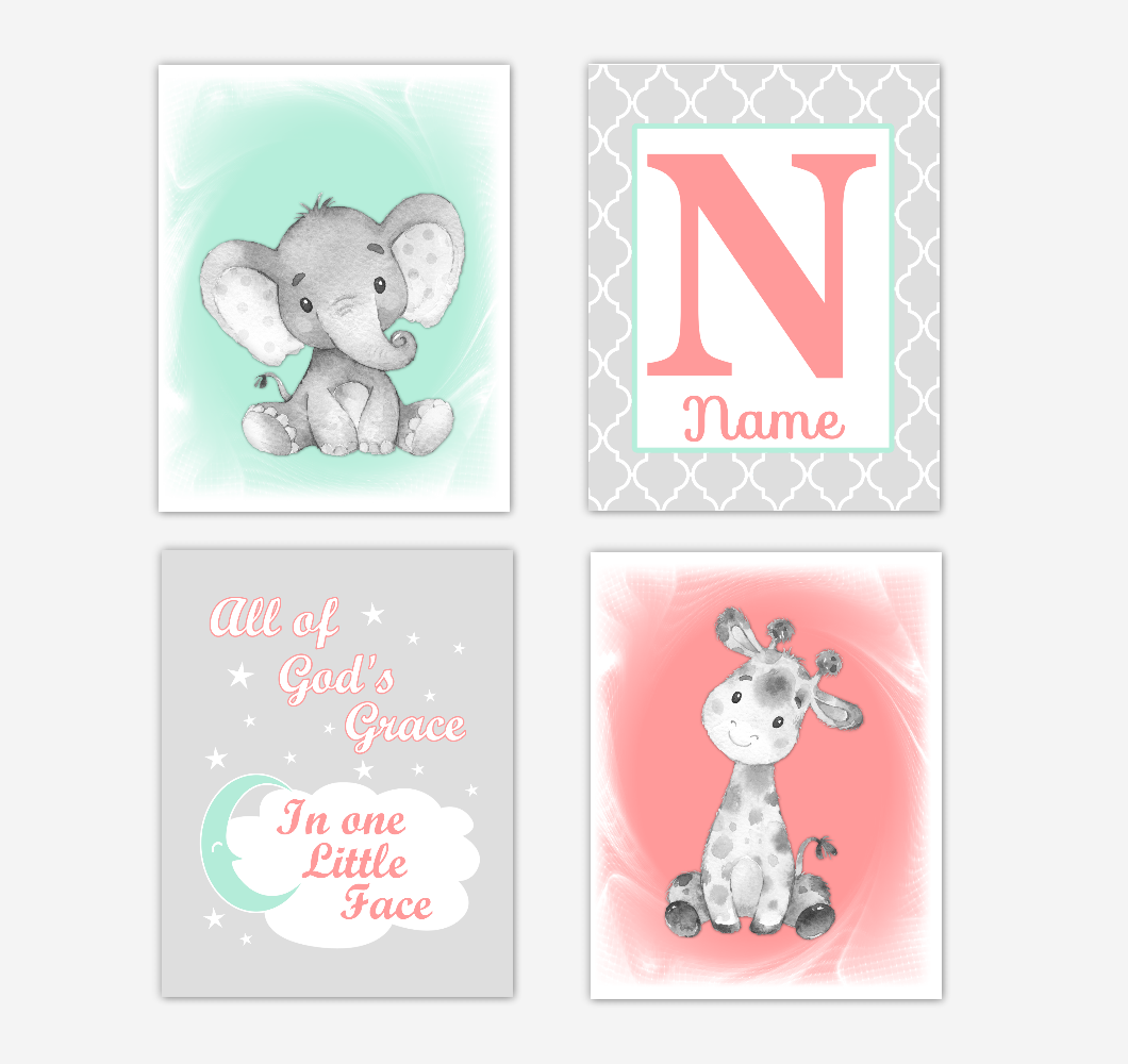 Safari Animals Coral Mint Green Baby Girl Nursery Decor Wall Art Prints Elephant Giraffe Personalized Pictures New Baby Girl SET OF 4 UNFRAMED PRINTS or CANVAS 02057