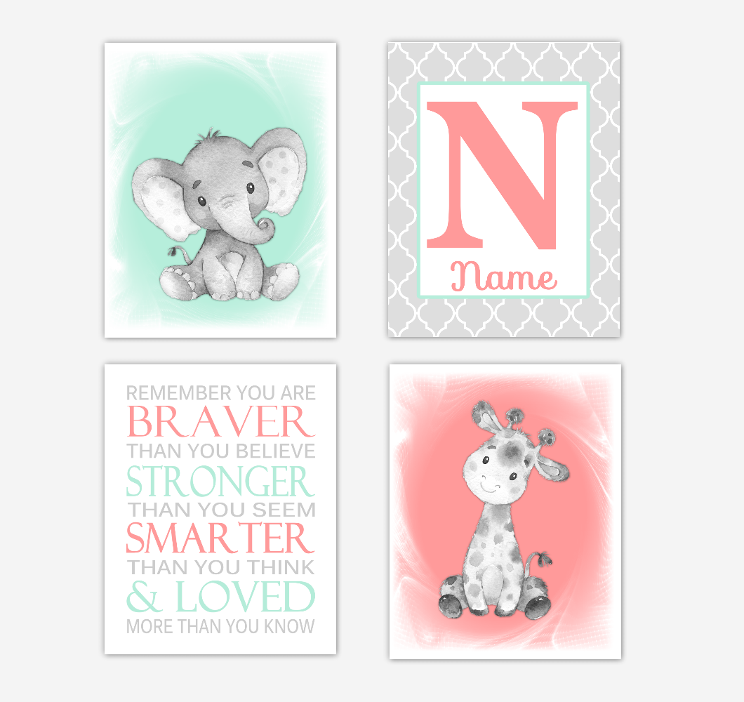 Safari Animals Coral Mint Green Baby Girl Nursery Decor Wall Art Prints Elephant Giraffe Personalized Pictures New Baby Girl SET OF 4 UNFRAMED PRINTS or CANVAS 02058
