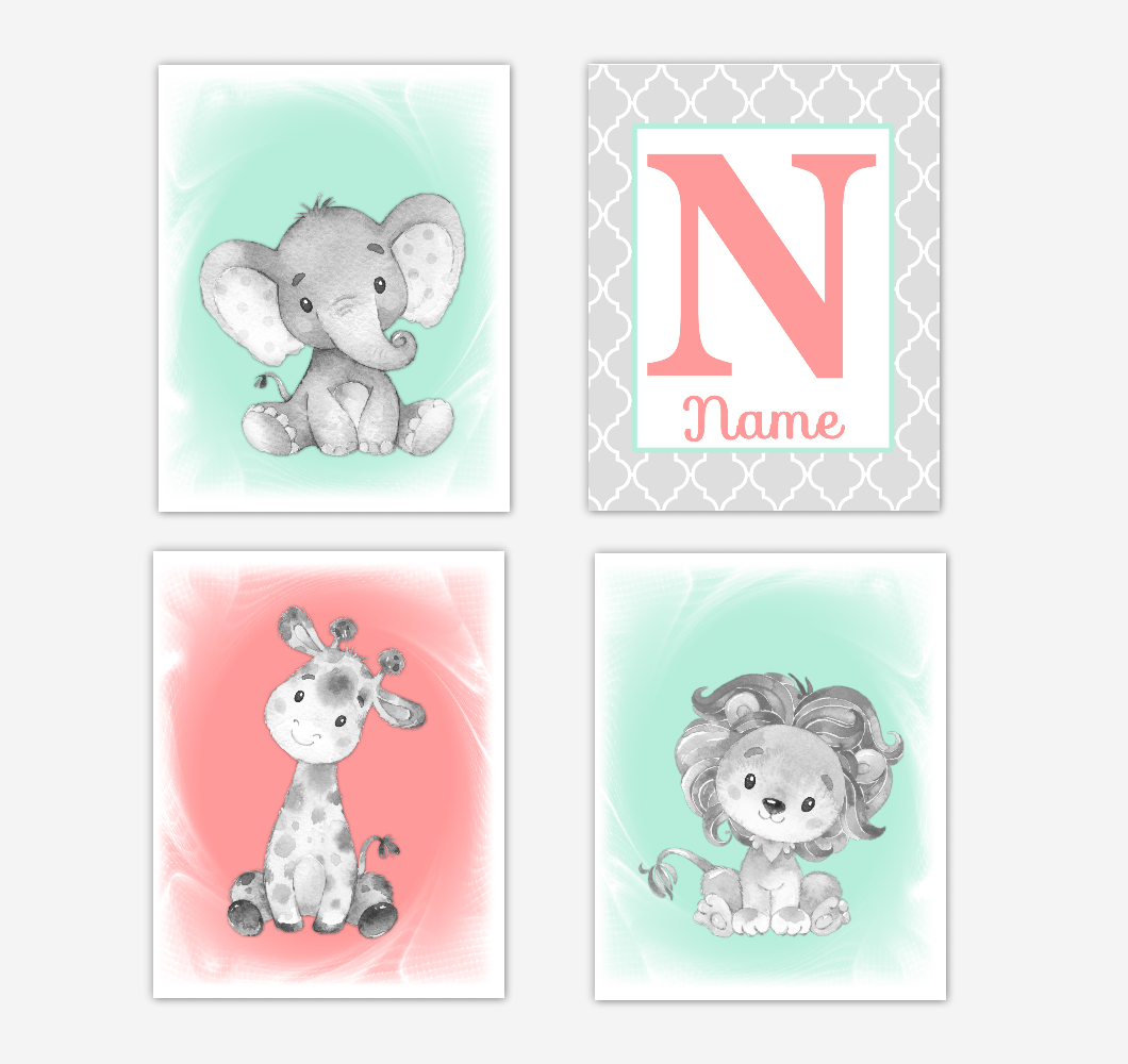 Safari Animals Coral Mint Green Baby Girl Nursery Decor Wall Art Prints Elephant Giraffe Personalized Pictures New Baby Girl SET OF 4 UNFRAMED PRINTS or CANVAS 02059