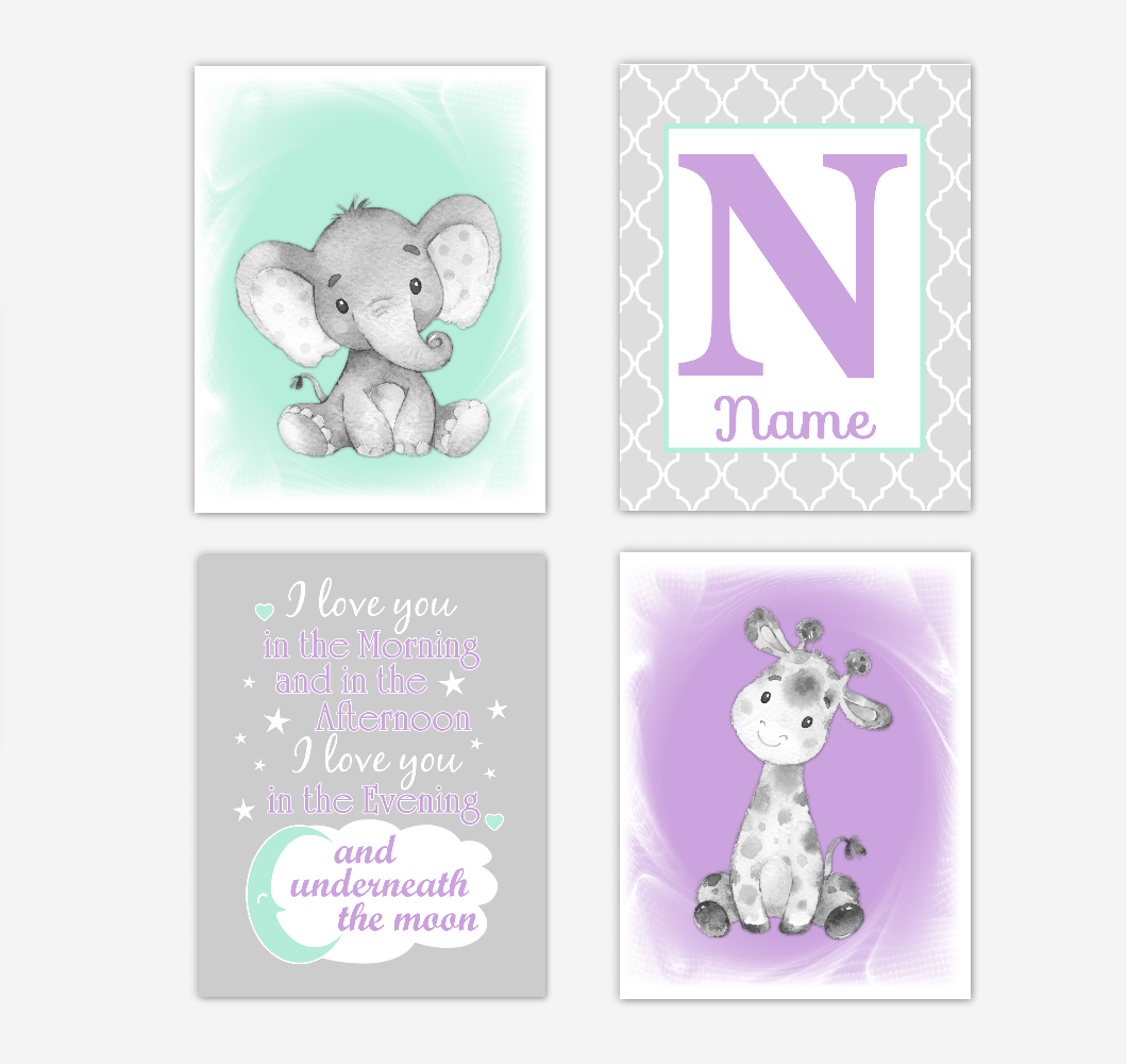 Safari Animals Purple Mint Green Baby Girl Nursery Decor Wall Art Prints Elephant Giraffe Personalized Pictures New Baby Girl SET OF 4 UNFRAMED PRINTS or CANVAS 02060