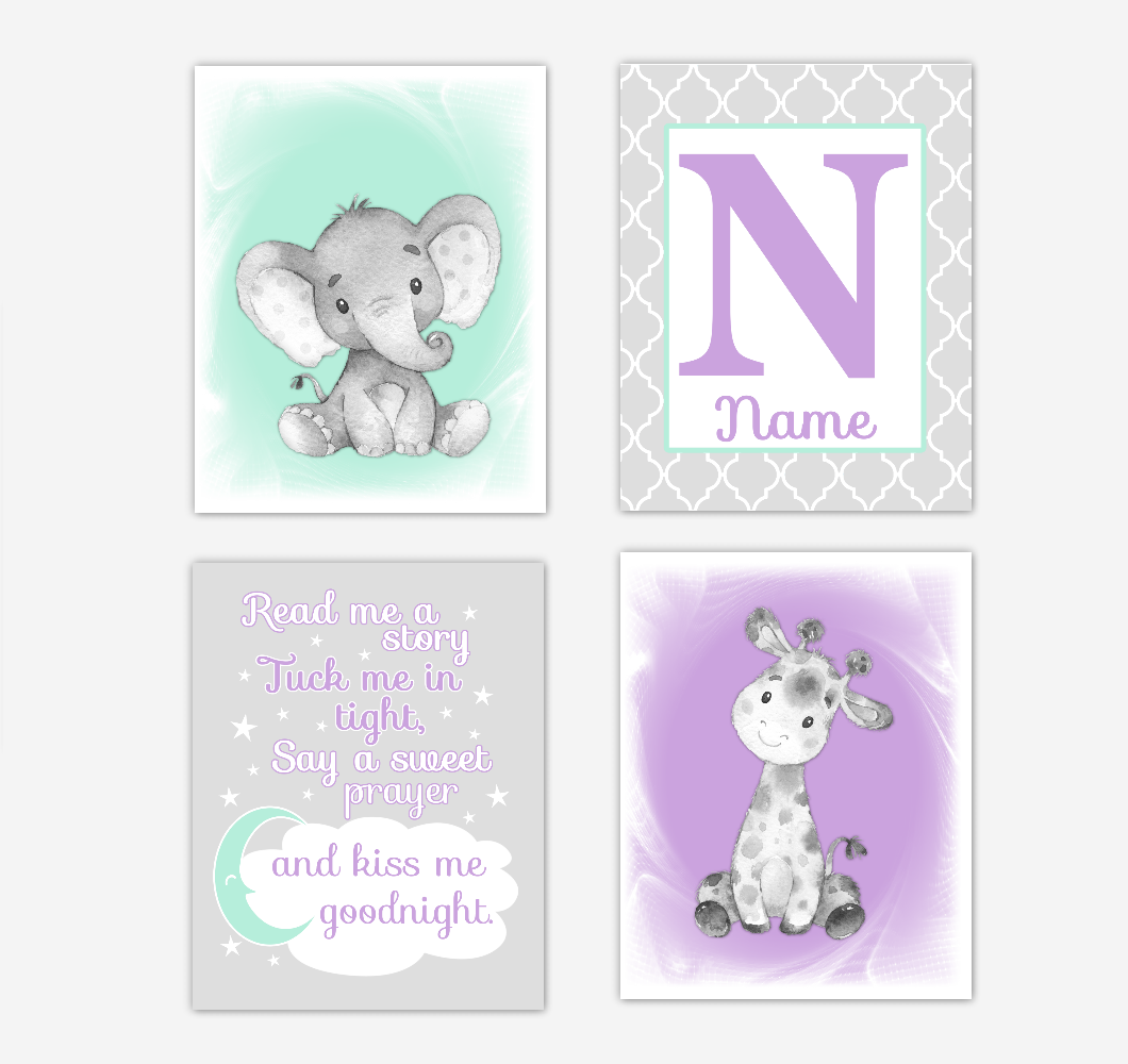 Safari Animals Purple Mint Green Baby Girl Nursery Decor Wall Art Prints Elephant Giraffe Personalized Pictures New Baby Girl SET OF 4 UNFRAMED PRINTS or CANVAS 02061
