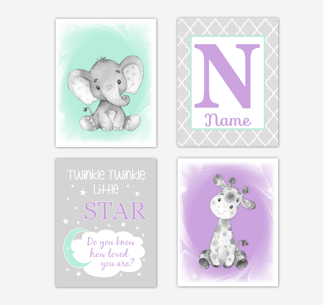 Safari Animals Purple Mint Green Baby Girl Nursery Decor Wall Art Prints Elephant Giraffe Personalized Pictures New Baby Girl SET OF 4 UNFRAMED PRINTS or CANVAS 02062