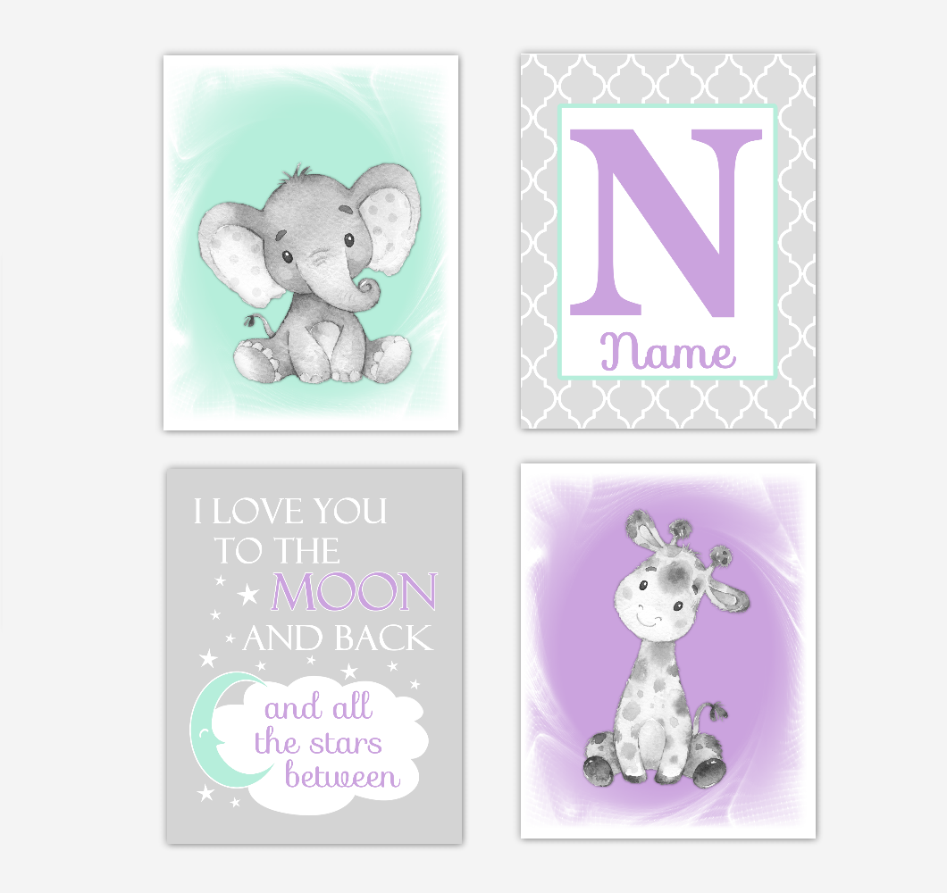 Safari Animals Purple Mint Green Baby Girl Nursery Decor Wall Art Prints Elephant Giraffe Personalized Pictures New Baby Girl SET OF 4 UNFRAMED PRINTS or CANVAS 02063