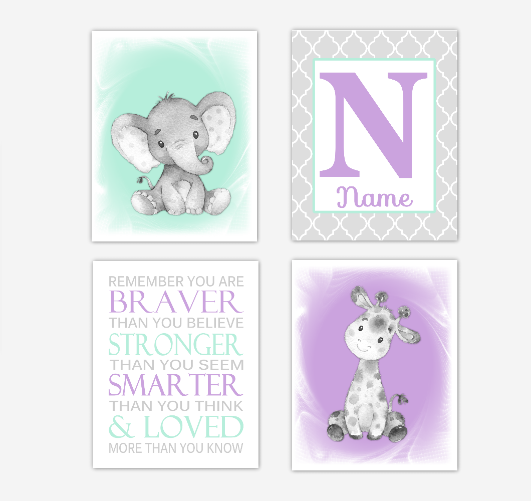 Safari Animals Purple Mint Green Baby Girl Nursery Decor Wall Art Prints Elephant Giraffe Personalized Pictures New Baby Girl SET OF 4 UNFRAMED PRINTS or CANVAS 02064