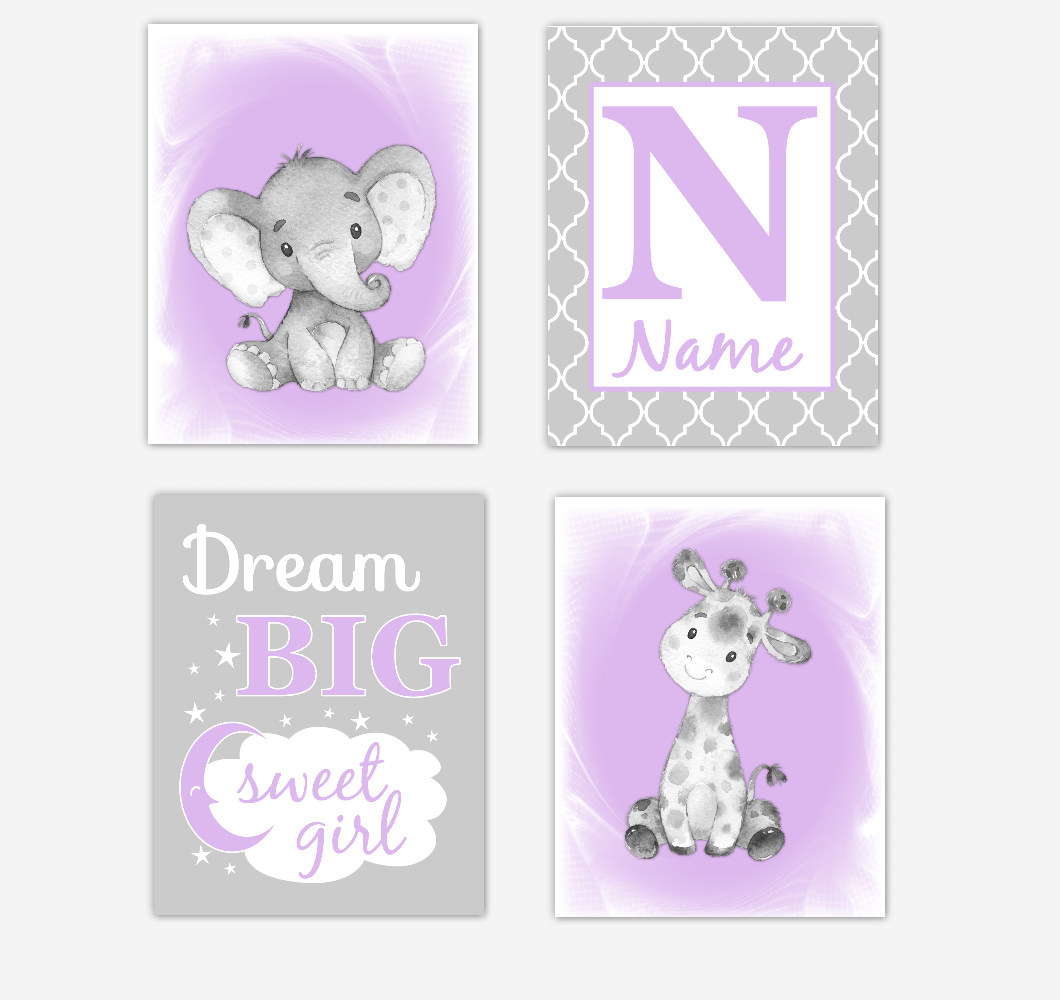 Safari Animals Purple Lavender Baby Girl Nursery Decor Wall Art Prints Elephant Giraffe Personalized Pictures New Baby Girl SET OF 4 UNFRAMED PRINTS or CANVAS 02066