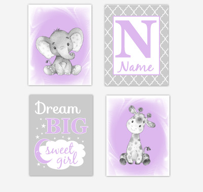 Safari Animals Purple Lavender Baby Girl Nursery Decor Wall Art Prints Elephant Giraffe Personalized Pictures New Baby Girl SET OF 4 UNFRAMED PRINTS or CANVAS