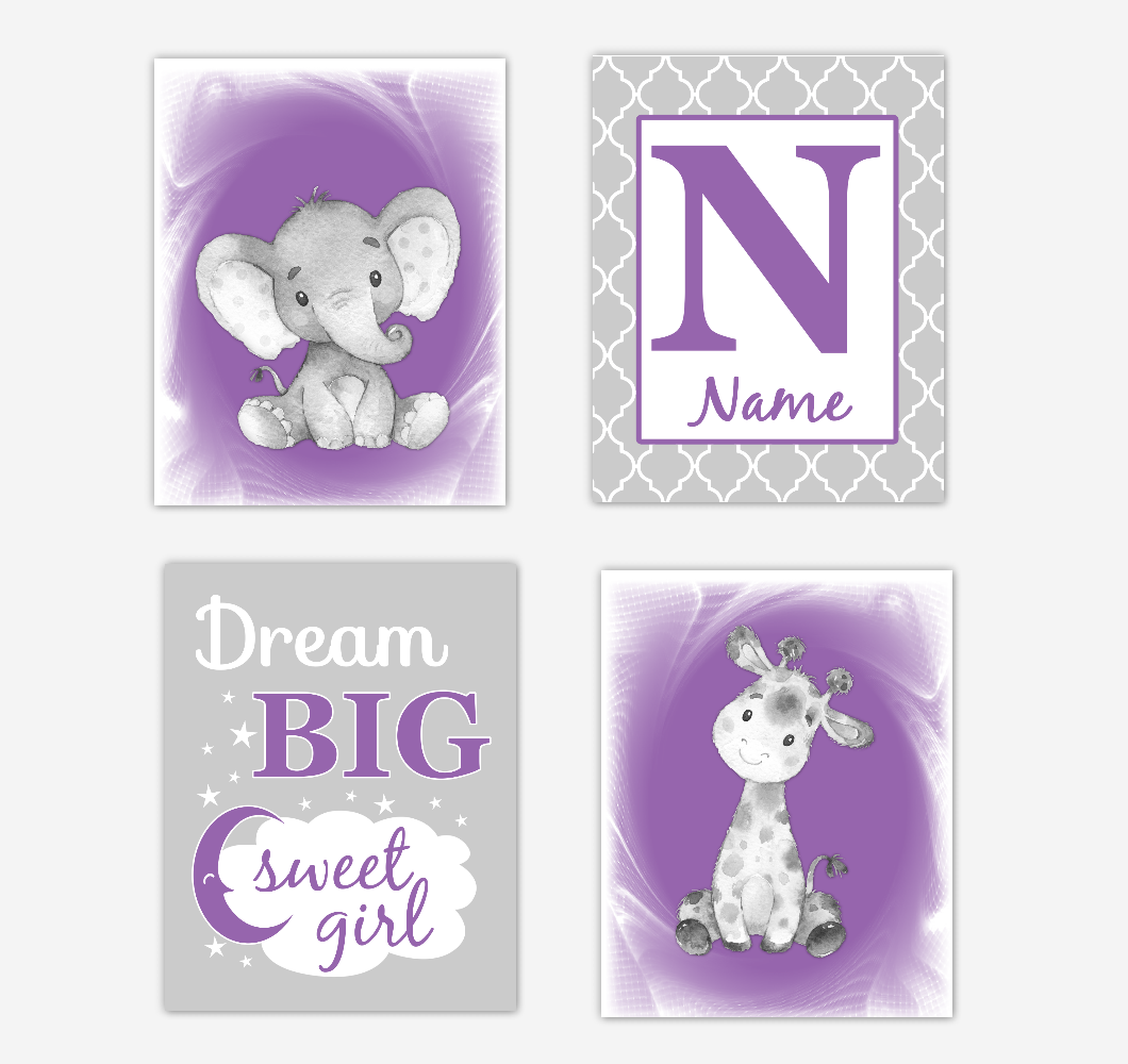Safari Animals Purple Baby Girl Nursery Decor Wall Art Prints Elephant Giraffe Personalized Pictures New Baby Girl SET OF 4 UNFRAMED PRINTS or CANVAS 02067