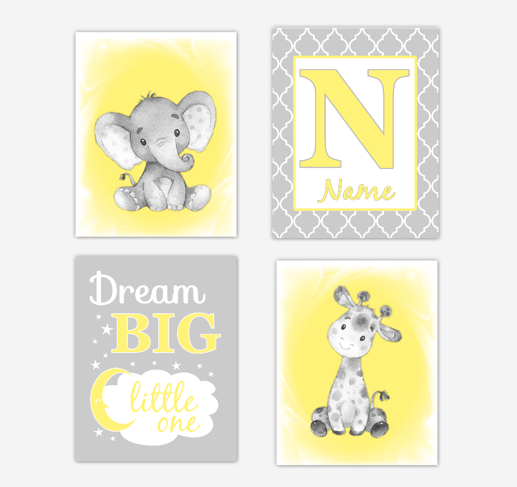 Gender Neutral Yellow Safari Animals Baby Nursery Decor Wall Art Prints Elephant Giraffe Personalized Pictures New Baby Gift SET OF 4 UNFRAMED PRINTS or CANVAS 02068