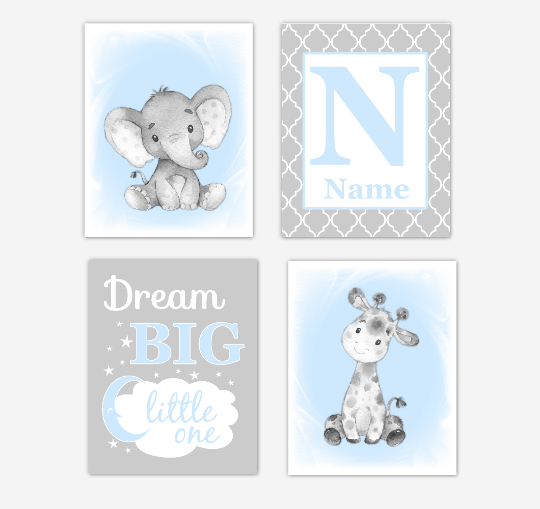 Blue Gray Safari Animals Baby Boy Nursery Decor Wall Art Prints Elephant Giraffe Personalized Pictures New Baby Gift SET OF 4 UNFRAMED PRINTS or CANVAS 02069