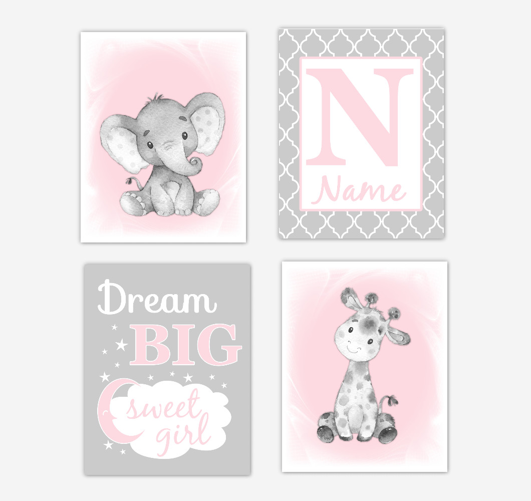 Pink Safari Animals Baby Girl Nursery Decor Wall Art Prints Elephant Giraffe Personalized Pictures New Baby Gift SET OF 4 UNFRAMED PRINTS or CANVAS