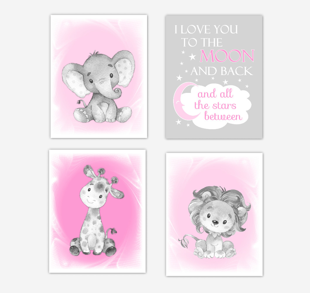 Pink Safari Animals Baby Girl Nursery Decor Wall Art Prints Elephant Giraffe Lion Pictures New Baby Gift SET OF 4 UNFRAMED PRINTS or CANVAS