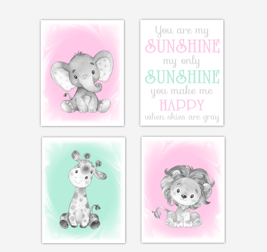 Pink Mint Green Safari Animals Baby Girl Nursery Decor Wall Art Prints Elephant Giraffe Lion Pictures New Baby Gift SET OF 4 UNFRAMED PRINTS or CANVAS