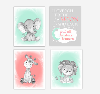 Coral Mint Green Safari Animals Baby Girl Nursery Decor Wall Art Prints Elephant Giraffe Lion Pictures New Baby Gift SET OF 4 UNFRAMED PRINTS or CANVAS