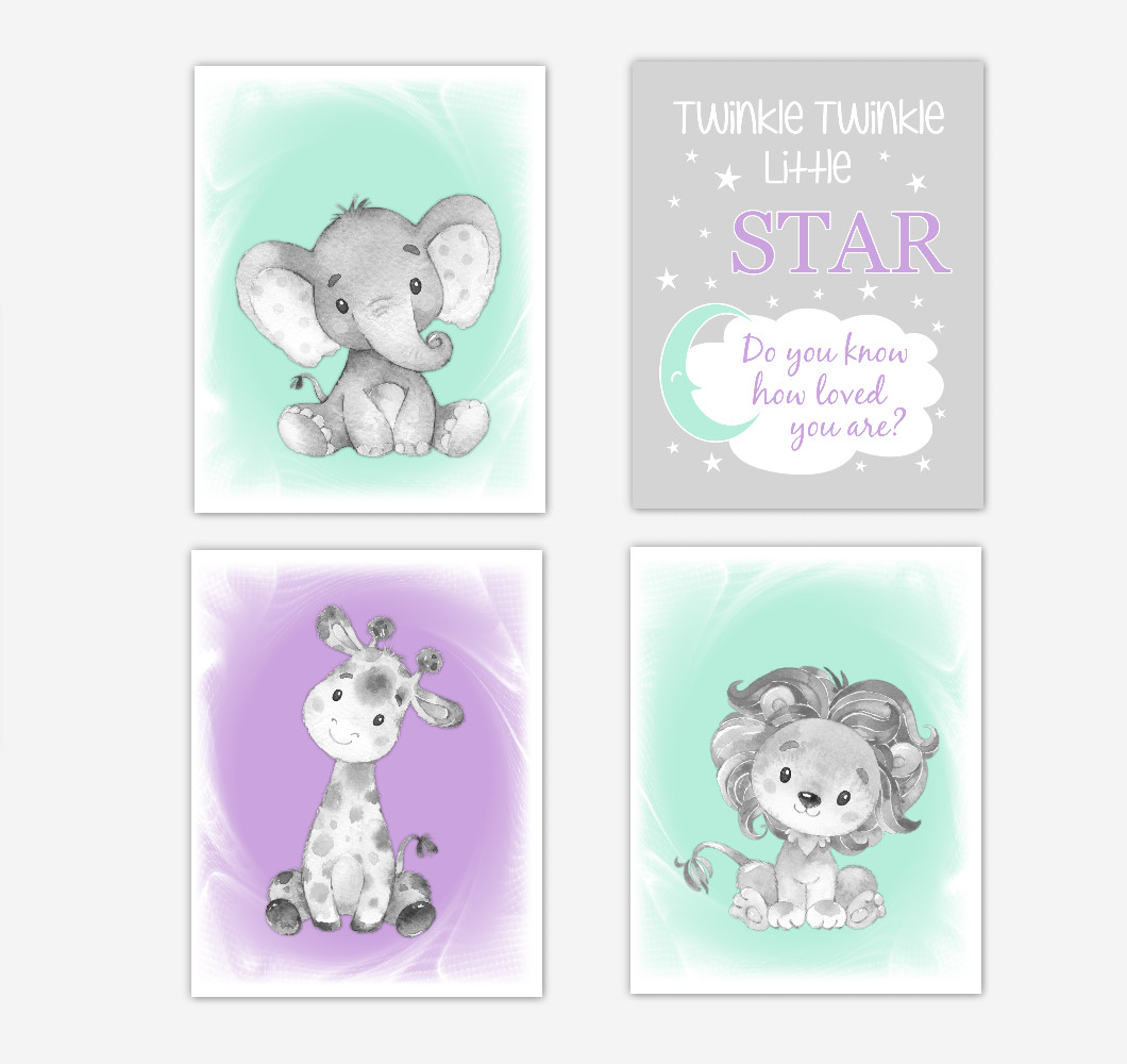 Purple Mint Green Safari Animals Baby Girl Nursery Decor Wall Art Prints Elephant Giraffe Lion Pictures New Baby Gift SET OF 4 UNFRAMED PRINTS or CANVAS
