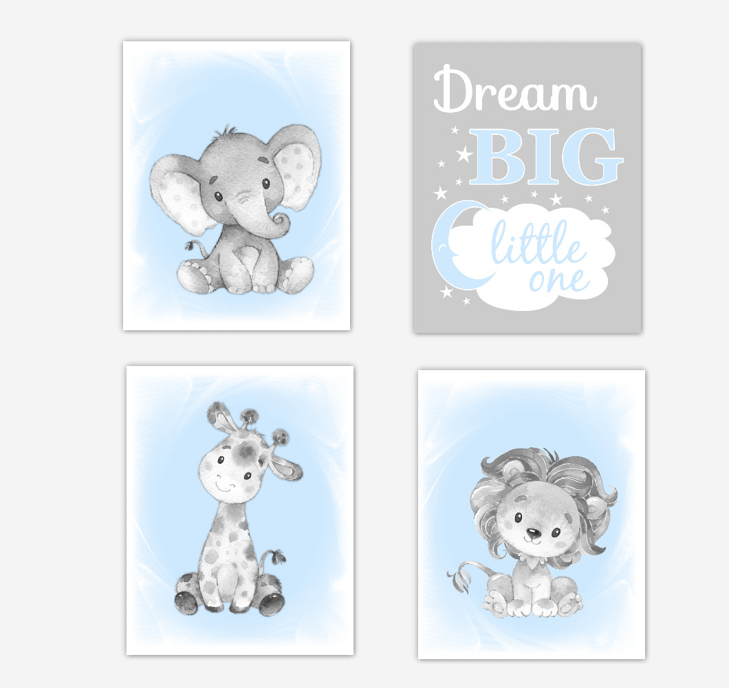 Blue Gray Safari Animals Baby Boy Nursery Decor Wall Art Prints Elephant Giraffe Lion Pictures New Baby Gift SET OF 4 UNFRAMED PRINTS or CANVAS