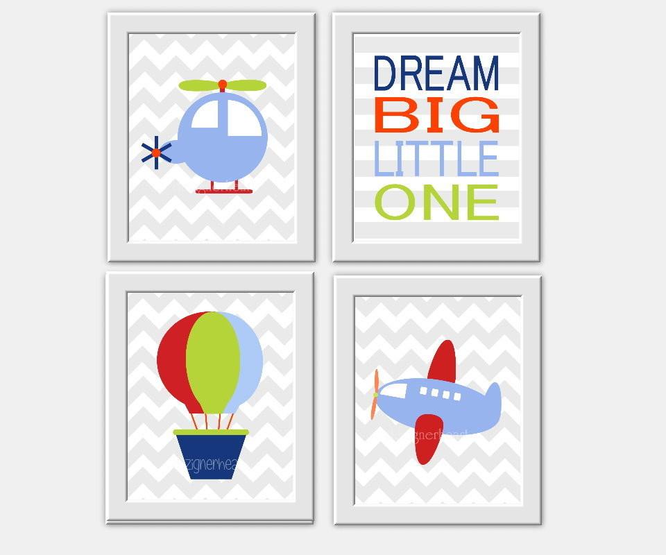 Transportation Baby Boy Nursery Wall Art Plane Helicopter Hot Air Balloon Dream Big Little One Boys Room Wall Art Decor for Baby Boy Blue Green Red