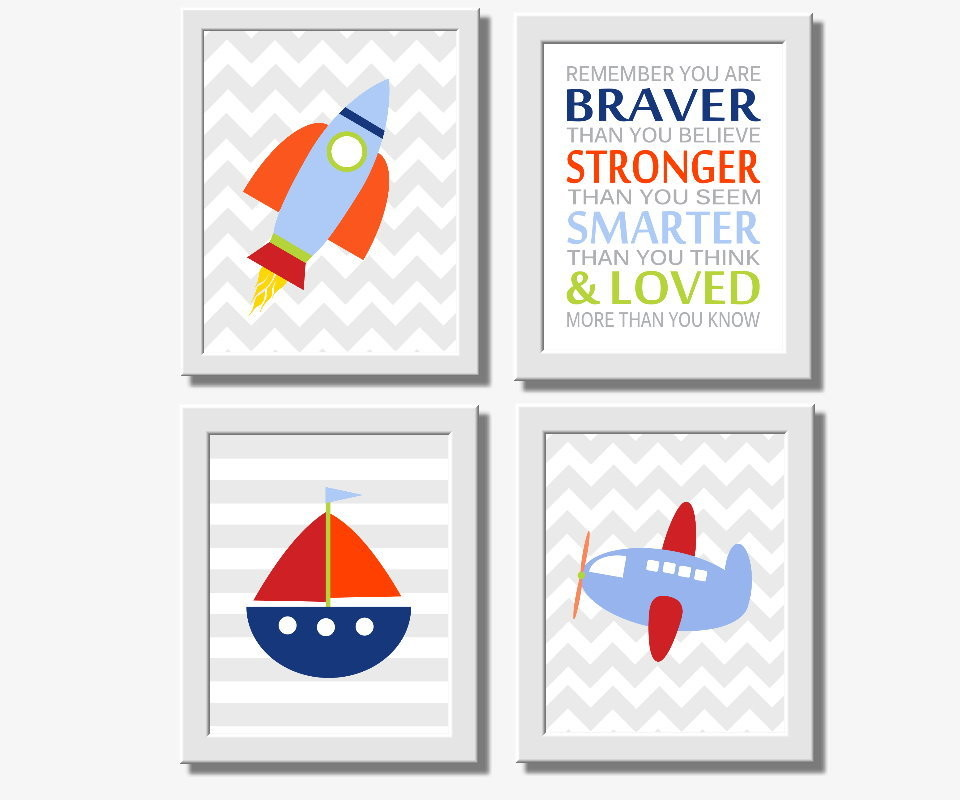 Transportation Baby Boy Nursery Wall Art Spaceship Rocket Sailboat Airplane Winnie the Pooh Quote You are Braver Toddler Boys Room Decor Wall Art
