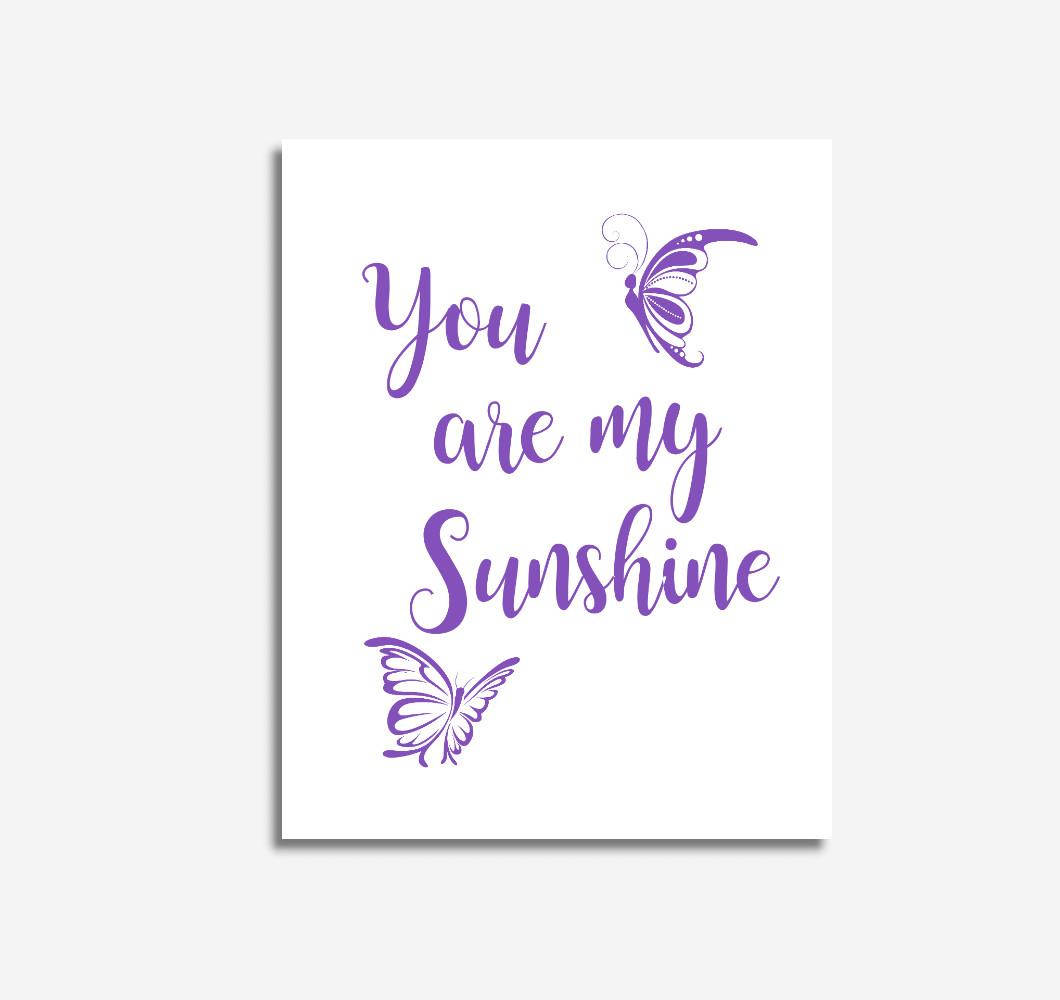 Purple You Are My Sunshine Baby Girl Nursery Wall Art Prints Canvas Butterfly Baby Nursery Decor