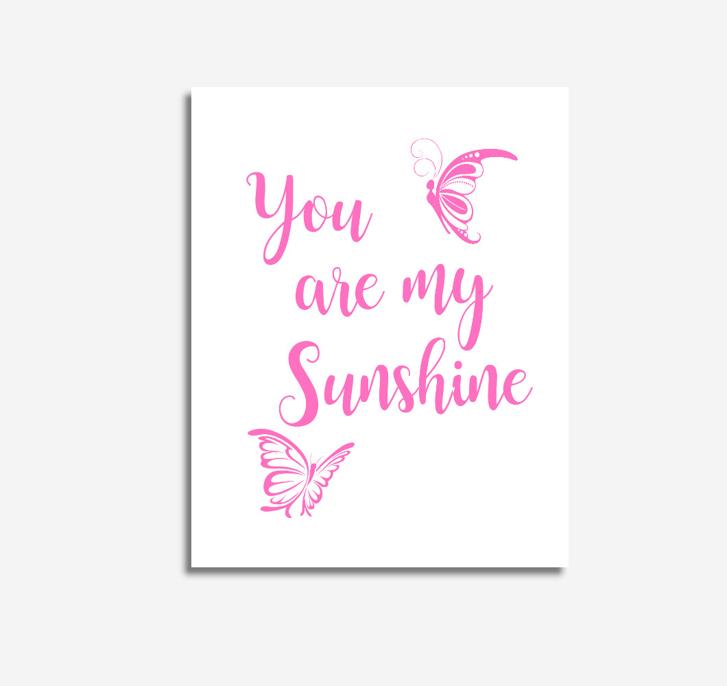 Pink You Are My Sunshine Baby Girl Nursery Wall Art Prints Canvas Butterfly Baby Nursery Decor