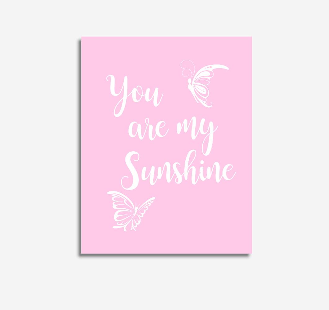 Pink You Are My Sunshine Baby Girl Nursery Wall Art Prints Canvas Butterfly Baby Nursery Decor