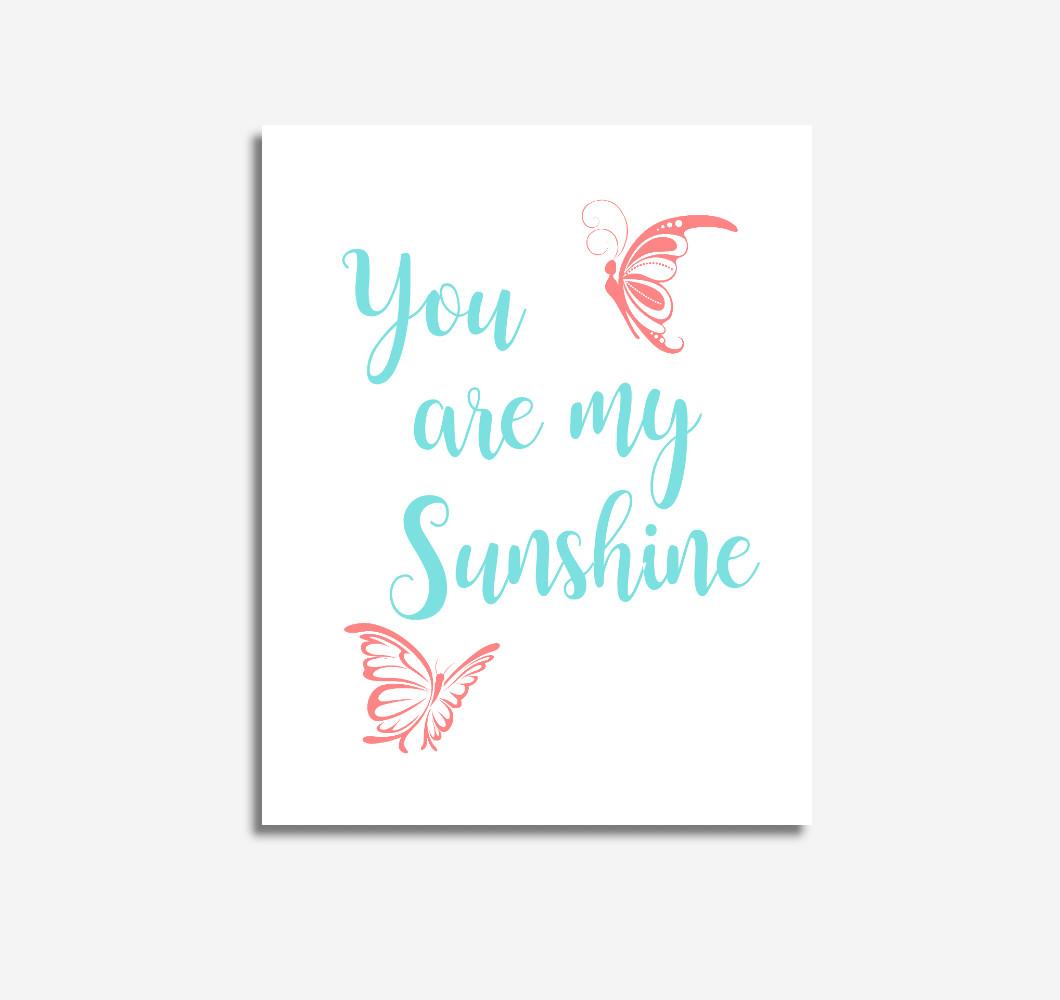 Coral Teal Aqua You Are My Sunshine Baby Girl Nursery Wall Art Prints Canvas Butterfly Baby Nursery Decor