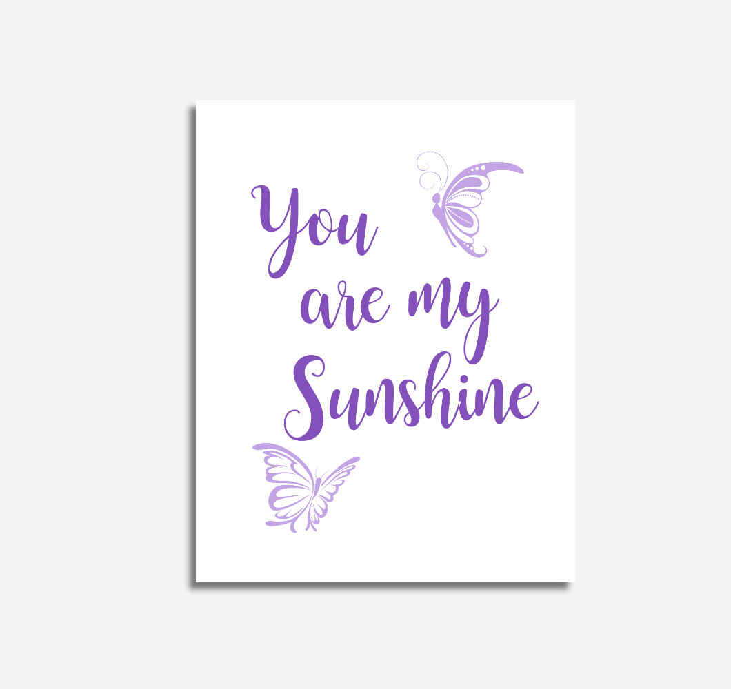 Purple You Are My Sunshine Baby Girl Nursery Wall Art Prints Canvas Butterfly Baby Nursery Decor