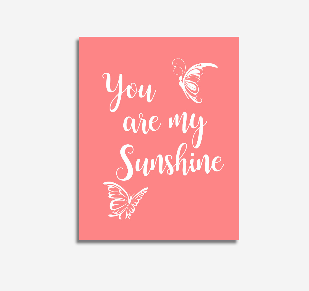 Coral You Are My Sunshine Baby Girl Nursery Wall Art Prints Canvas Butterfly Baby Nursery Decor