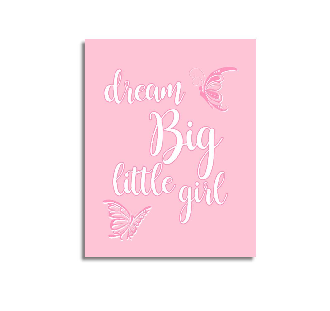 Pink Dream Big Baby Girl Nursery Wall Art Prints Canvas Butterfly Baby Nursery Decor