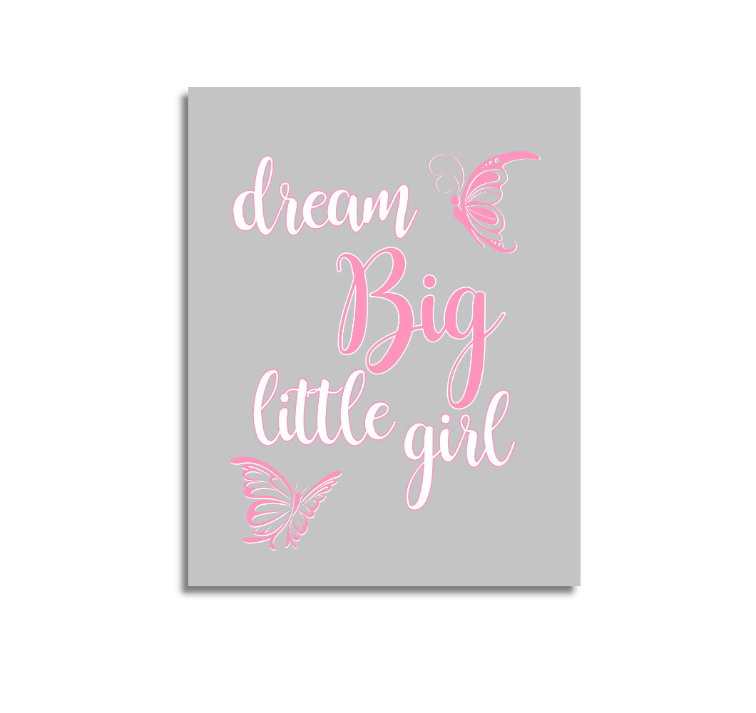 Pink Dream Big Baby Girl Nursery Wall Art Prints Canvas Butterfly Baby Nursery Decor