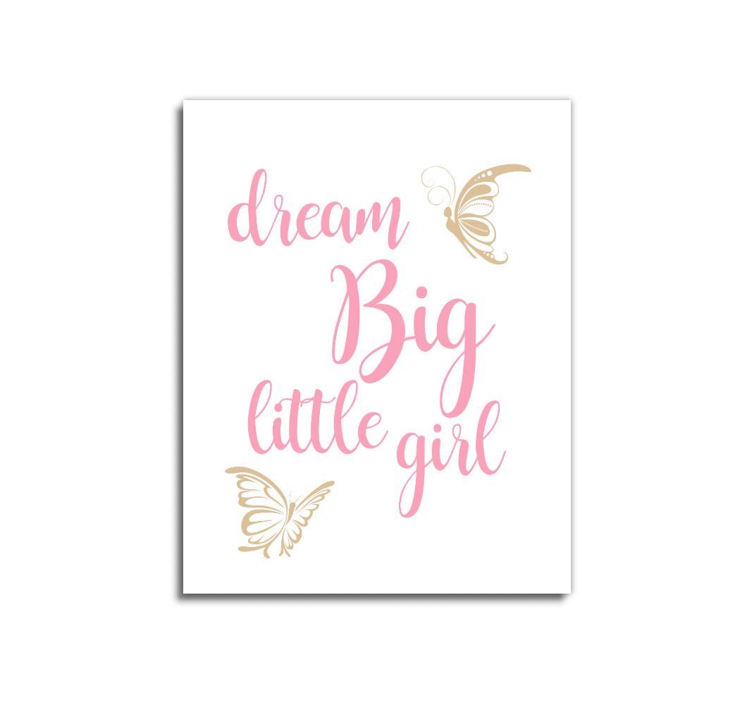 Pink Gold Dream Big Baby Girl Nursery Wall Art Prints Canvas Butterfly Baby Nursery Decor
