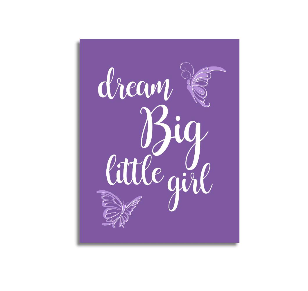 Purple Dream Big Baby Girl Nursery Wall Art Prints Canvas Butterfly Baby Nursery Decor