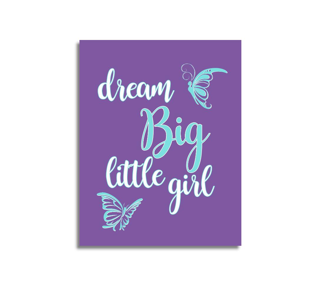 Purple Teal Aqua Dream Big Baby Girl Nursery Wall Art Prints Canvas Butterfly Baby Nursery Decor