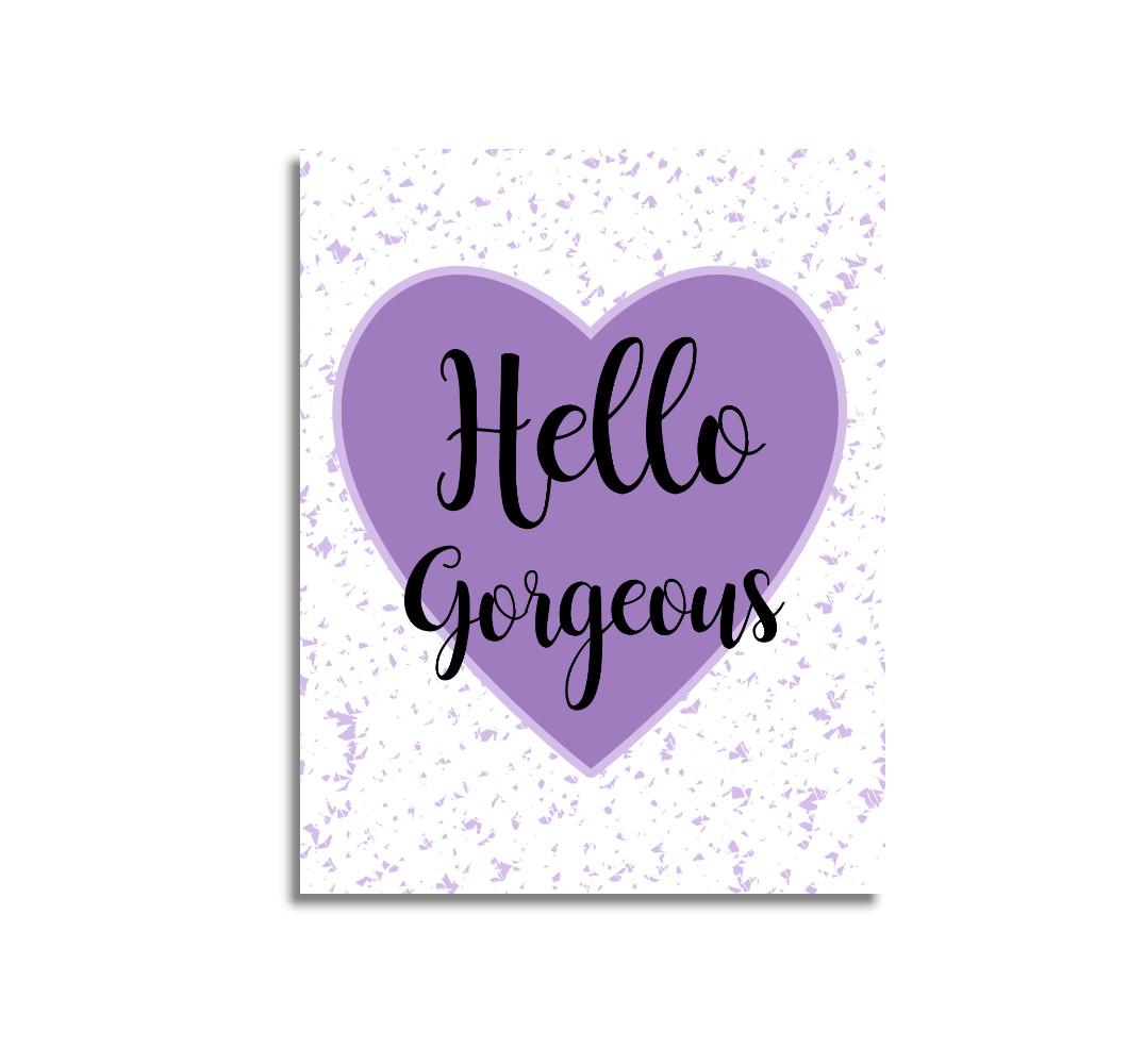 Purple Heart Hello Gorgeous Heart Baby Girl Nursery Wall Art Prints Canvas Butterfly Girl Bedroom Decor Baby Nursery Decor