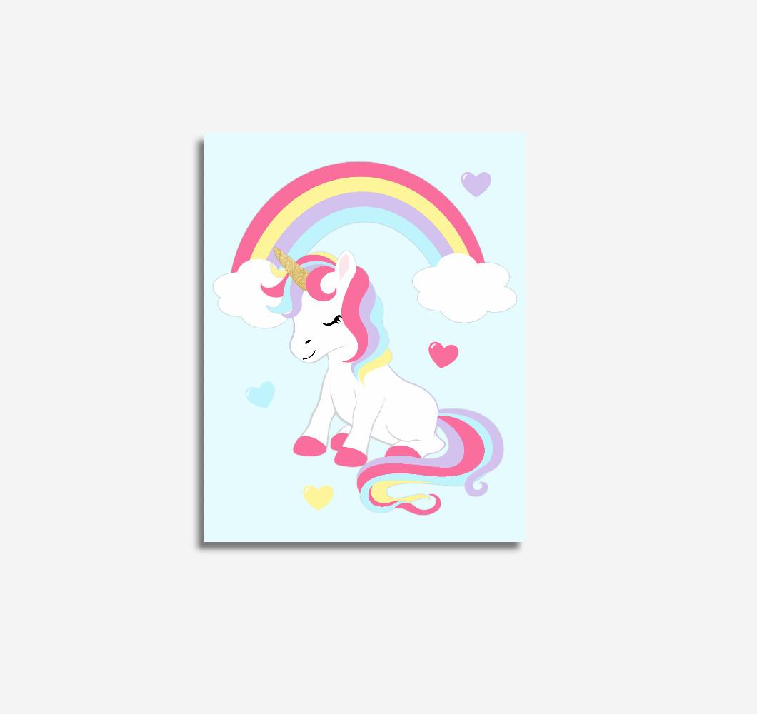 Unicorn Rainbow Blue Baby Girl Nursery Wall Art Prints Canvas Girl Bedroom Decor