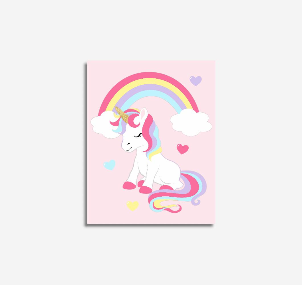 Unicorn Rainbow Pink Baby Girl Nursery Wall Art Prints Canvas Girl Bedroom Decor