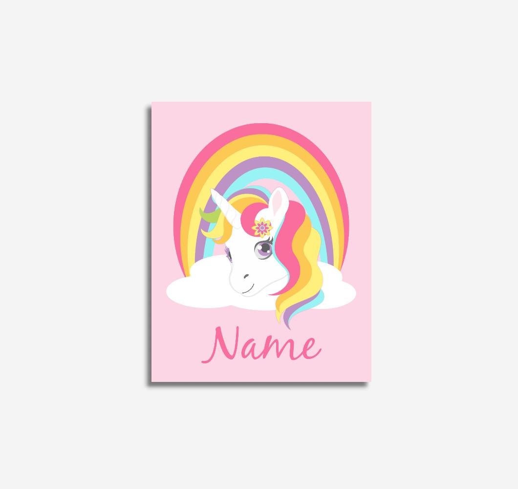 Pink Unicorn Rainbow Personalized Baby Girl Nursery Wall Art Prints Canvas Girl Bedroom Decor