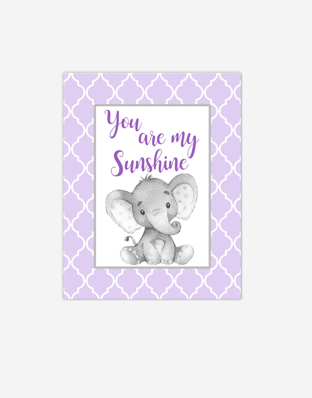 Purple Elephant You Are My Sunshine Baby Girl Nursery Wall Art Print Canvas Safari Animal Picture