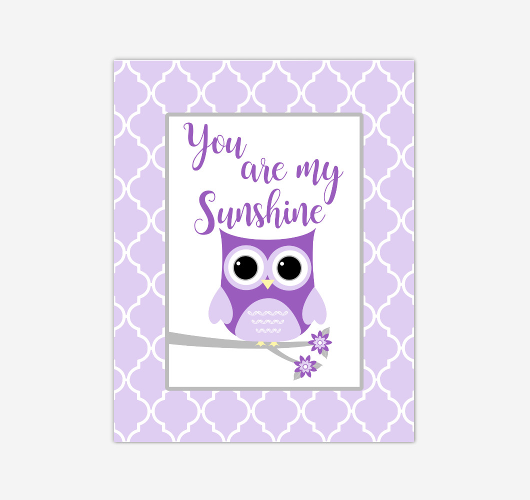 Purple Owl You Are My Sunshine Baby Girl Nursery Wall Art Print Canvas Safari Animal Picture