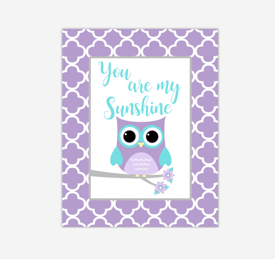 Purple Teal Aqua Owl You Are My Sunshine Baby Girl Nursery Wall Art Print Canvas Safari Animal Picture