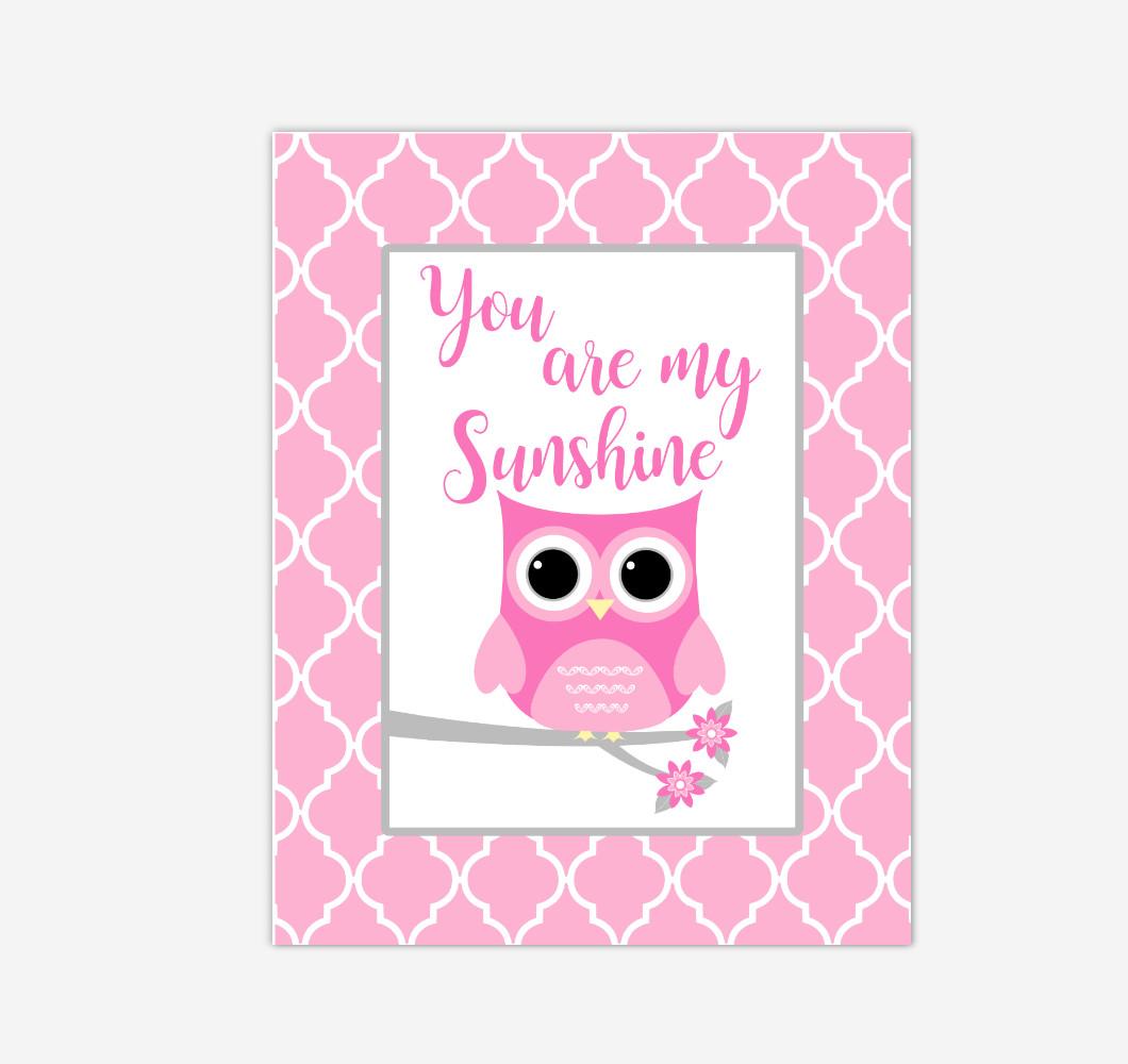 Pink Owl You Are My Sunshine Baby Girl Nursery Wall Art Print Canvas Safari Animal Picture
