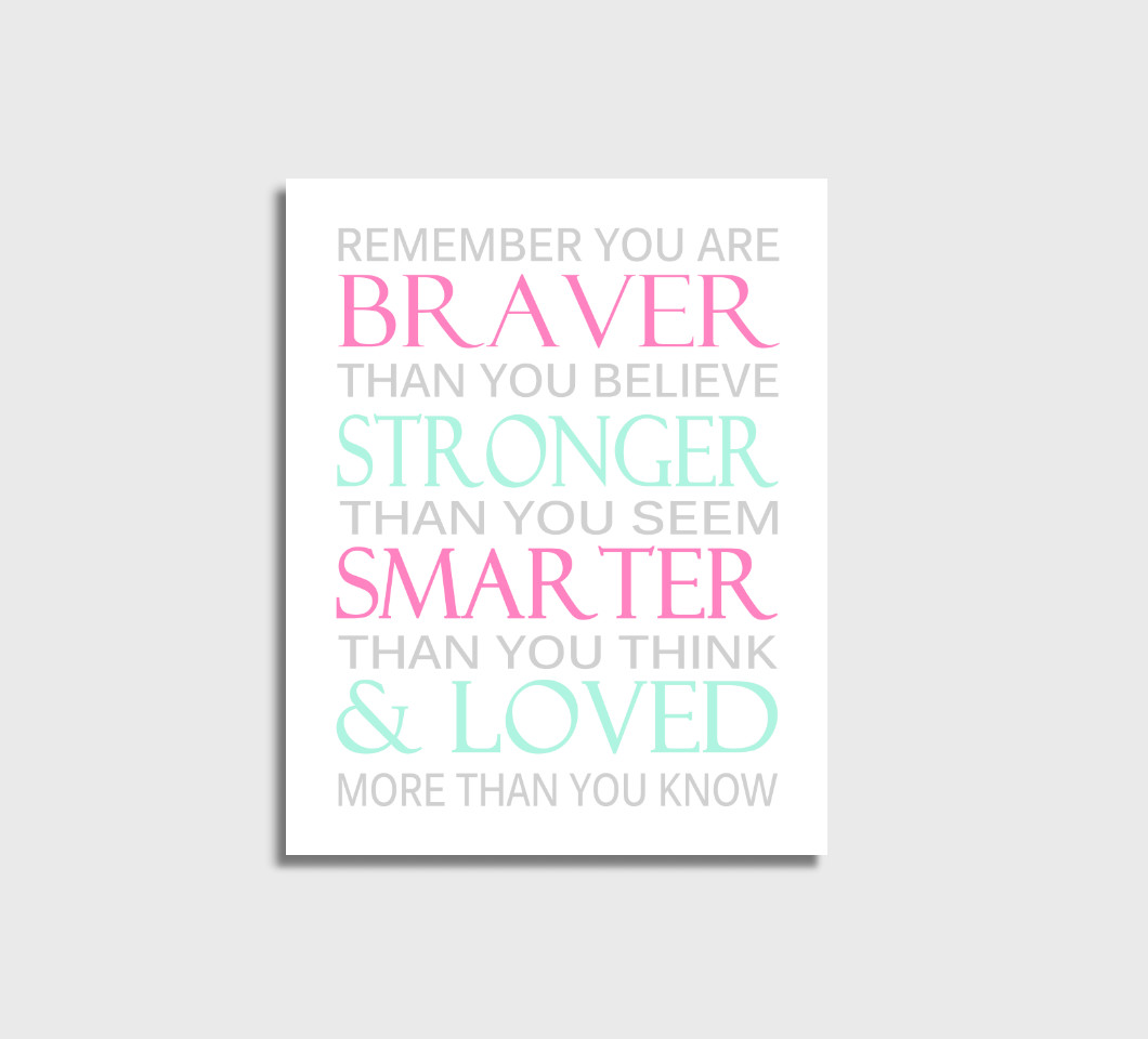 Pink Mint Remember You Are Braver Baby Girl Nursery Wall Art Print Canvas Girl Bedroom Decor
