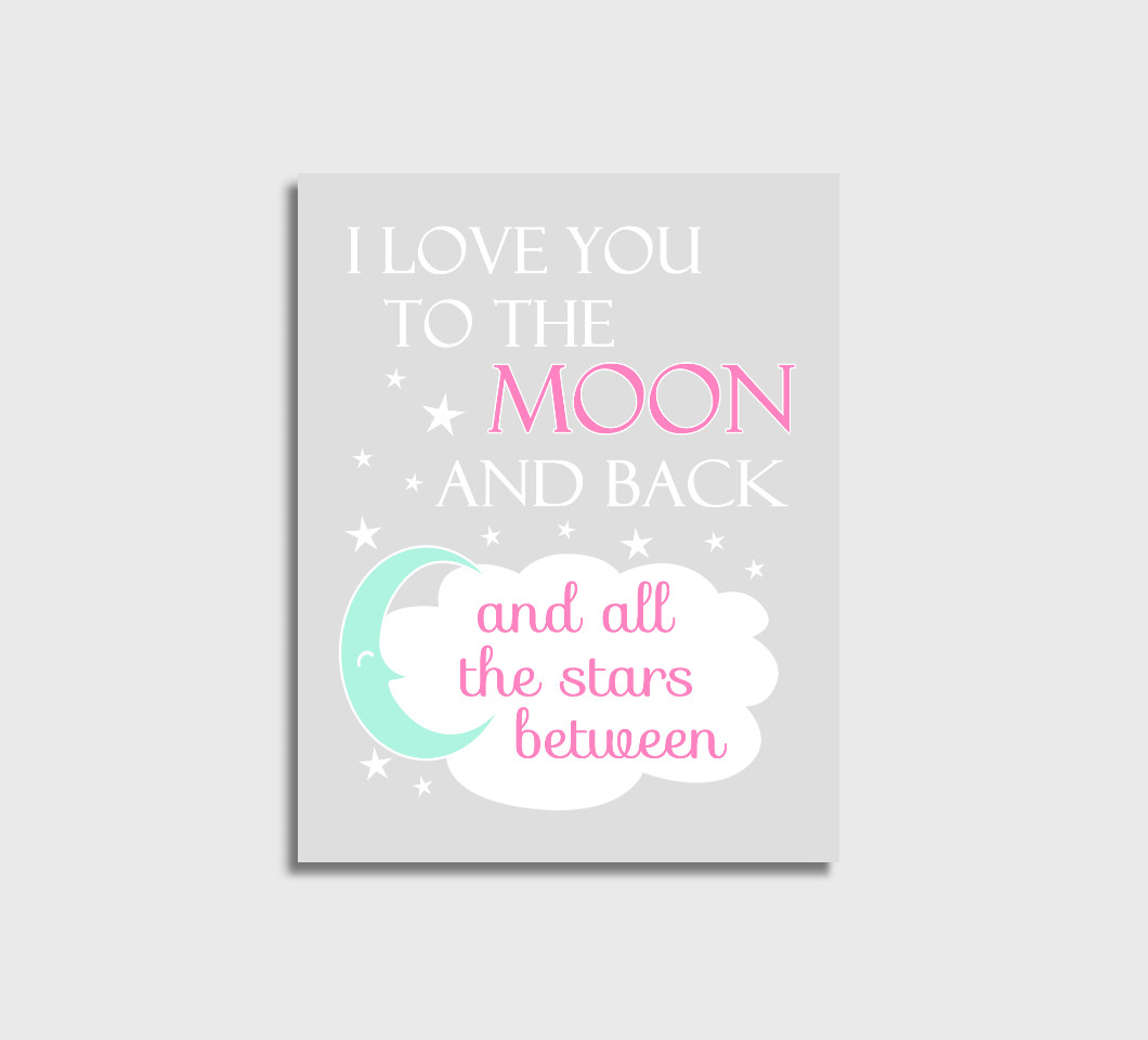 Pink Mint Love You To The Moon Baby Girl Nursery Wall Art Print Canvas Girl Bedroom Decor Picture