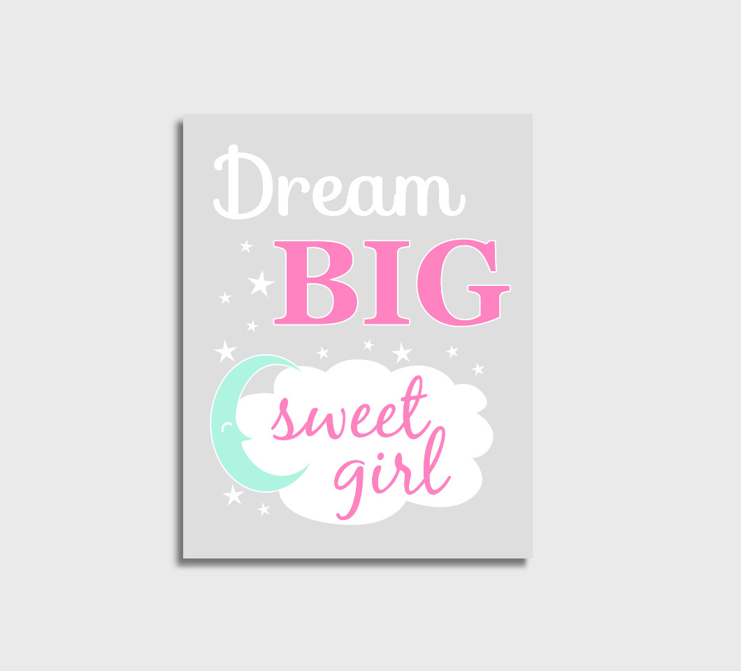 Pink Mint Dream Big Baby Girl Nursery Wall Art Print Canvas Girl Bedroom Decor Picture