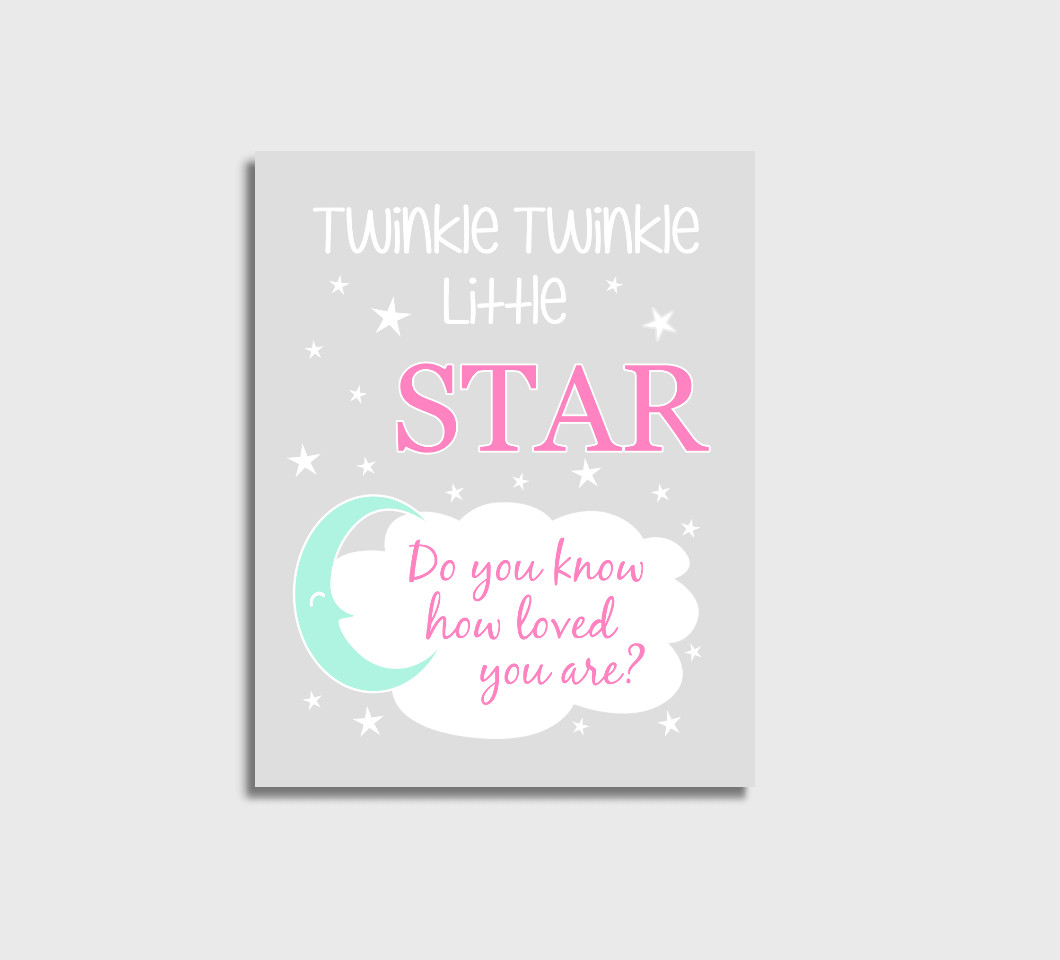 Pink Mint Twinkle Little Star Baby Girl Nursery Wall Art Print Canvas Girl Bedroom Decor Picture