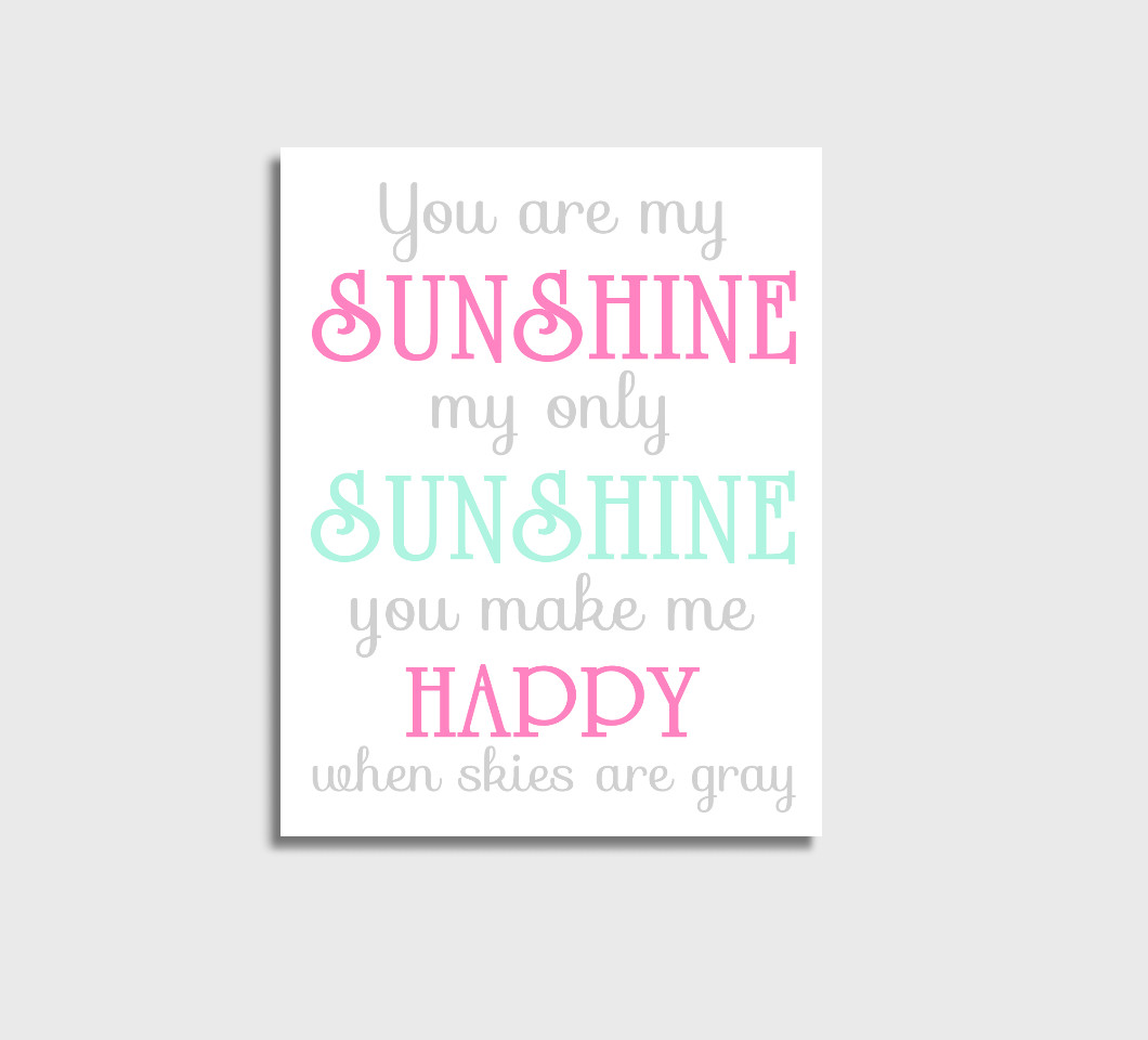 Pink Mint You Are My Sunshine Baby Girl Nursery Wall Art Print Canvas Girl Bedroom Decor Picture