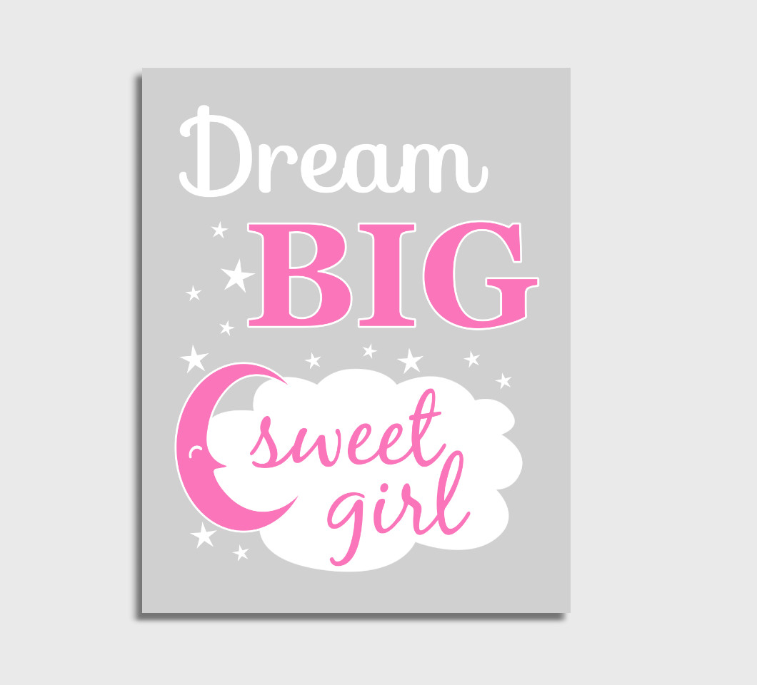 Pink Dream Big Baby Girl Nursery Wall Art Print Canvas Girl Bedroom Decor Picture
