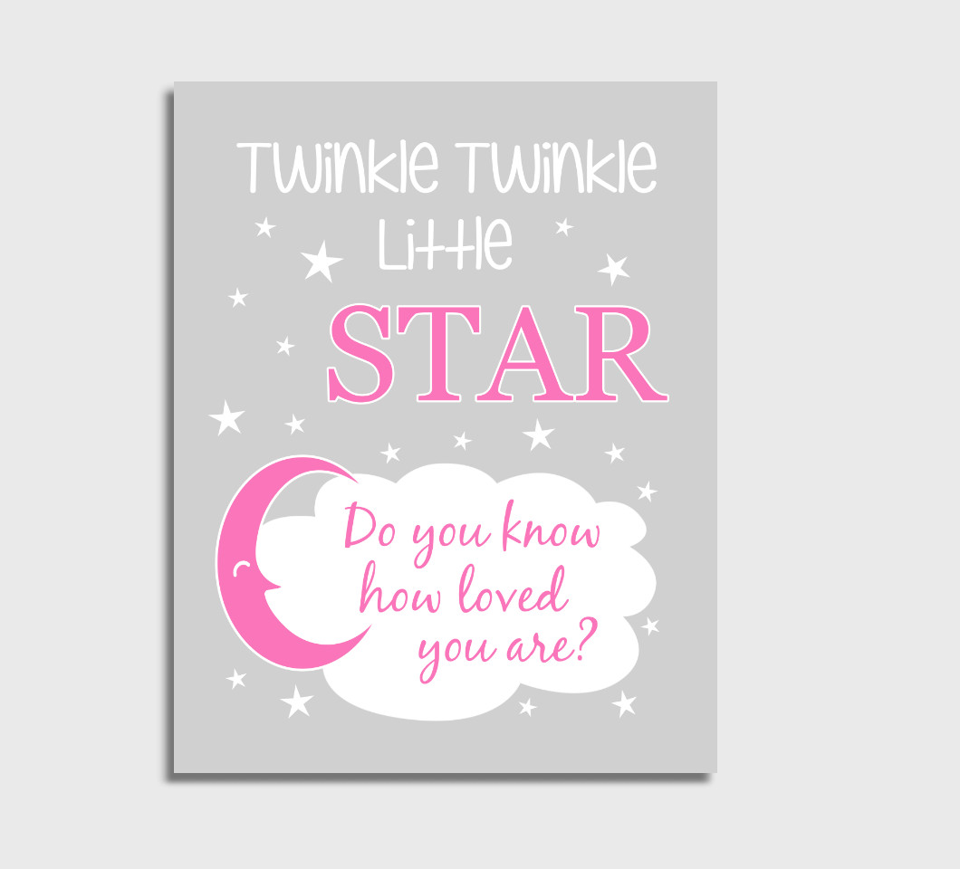 Pink Twinkle Little Star Baby Girl Nursery Wall Art Print Canvas Girl Bedroom Decor Picture