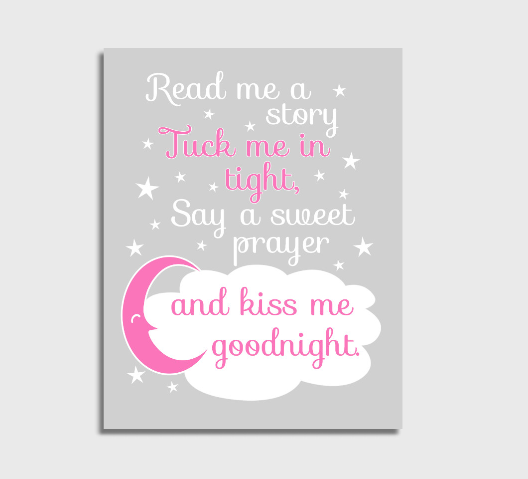 Pink Read Me A Story Girl Nursery Wall Art Print Canvas Girl Bedroom Decor Picture